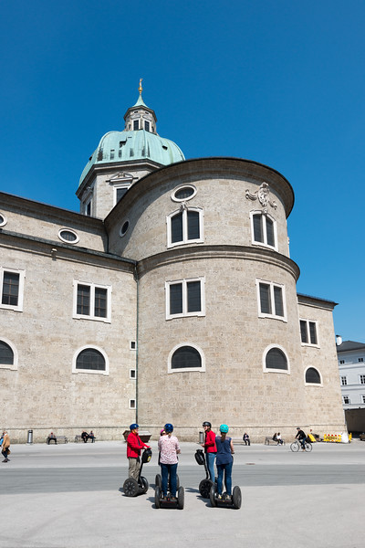 Kapitelplatz (Chapter Square) in Altstadt, Salzburg, Austria. Below Hohensalzburg Fortress and near the funicular.