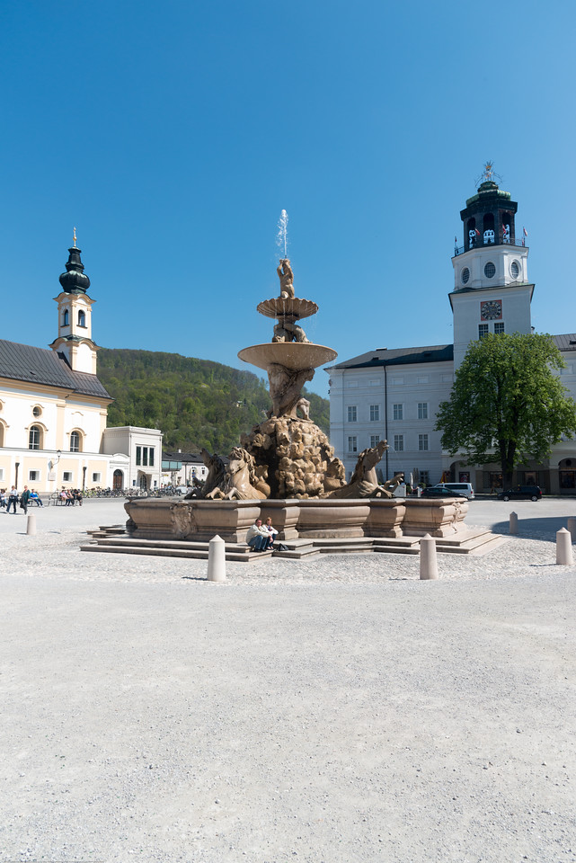 Mozartplatz & Mozart Monument.<br /> The square is dominated by the statue of Mozart by Ludwig Schwanthaler, ceremoniously unveiled on September 5, 1842 in the presence of Mozart's sons