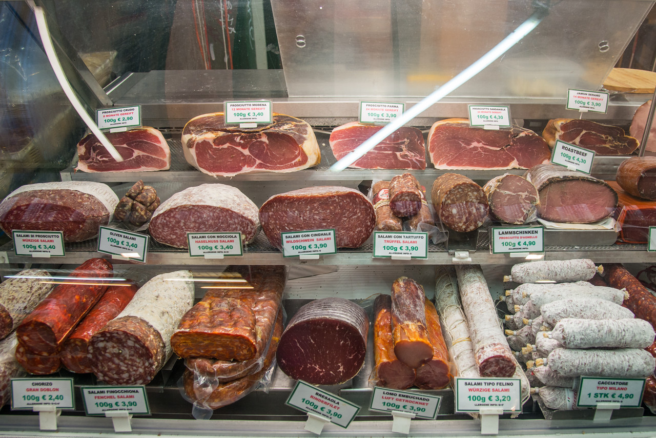 Various meats and cold cuts on sale in Vienna, Austria.