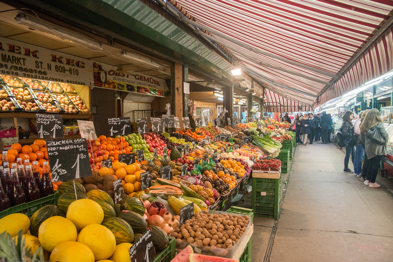 Vegetables and fresh fruits on sale in Vienna, Austria.