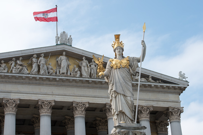 Front of the Austrian Parliament Building, Vienna, Austria.