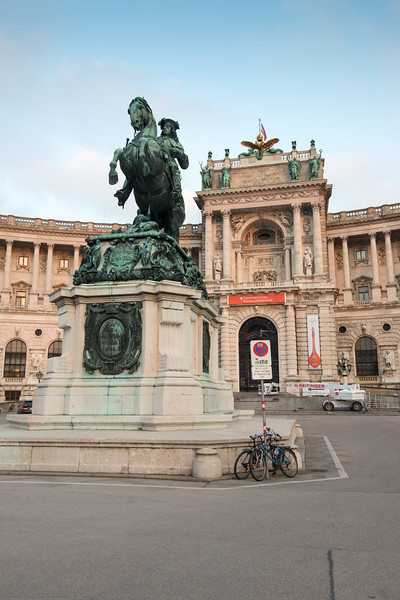 Entrance to Austrian National Library at Heldenplatz. Country, Vienna, Austria.