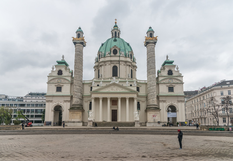 Karlskirche, 18th-century Habsburg domed cathedral with a 32.5-meter platform for views of the ornate frescoes. Vienna, Austria.