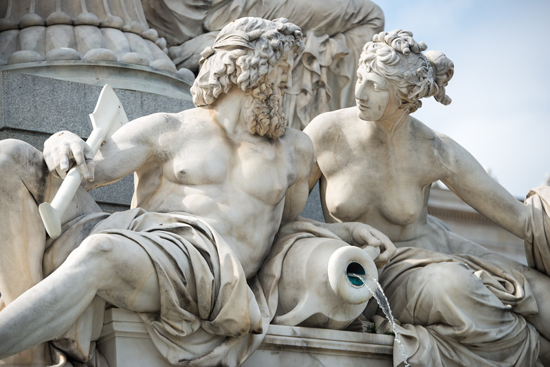 Statues outside the Austrian Parliament Building, Vienna, Austria.