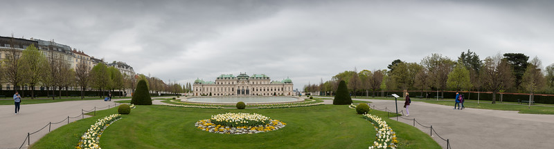 Panoramic view of Belvedere Palace. The 18th-century palace houses art from Middle Ages to today, with notable Klimt collection. Vienna, Austria.