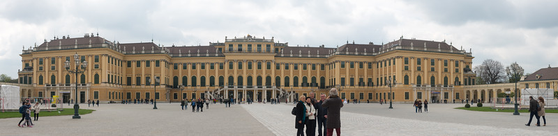 Panoramic view of Schönbrunn Palace. 18th-century summer palace with tours of lavish rococo ceremonial rooms, plus gardens with a maze. Vienna, Austria.