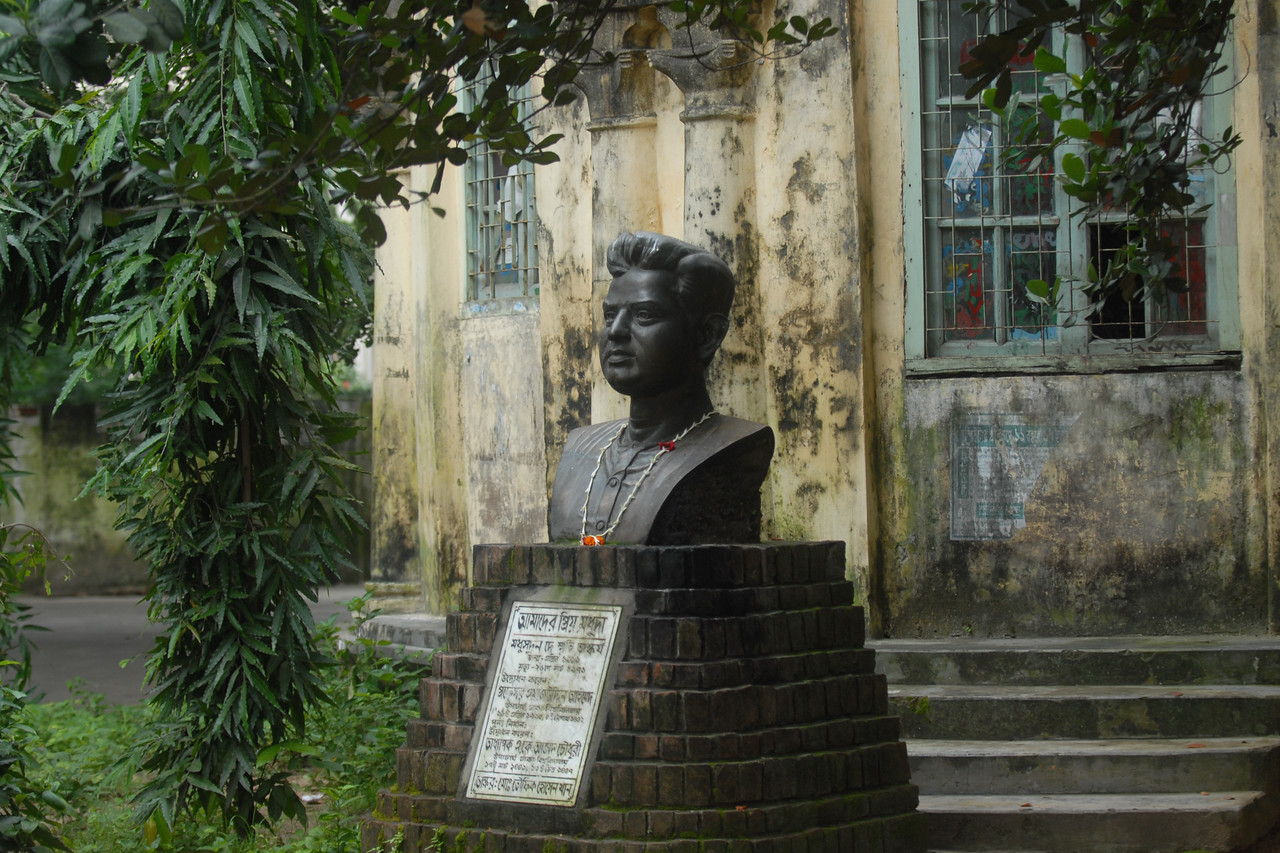 Busts at Dhaka University.<br /> Dhaka (Bangla: ঢাকা, pronounced [ɖʱaka])— (Dacca) is the capital city of Bangladesh (Bengali: বাংলাদেশ [ˈbaŋlad̪eʃ] Bangladesh). Dhaka, located on the banks of the Buriganga River is a megacity with a population of over 12 million. Dhaka is known as the City of Mosques and renowned for producing the world's finest muslin. it is a center for culture, education and business.