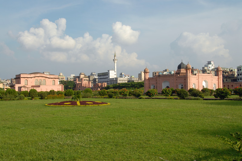 "Lalbagh Fort (Bengali: লালবাগ দূর্গ) (also known as ""Fort Aurangabad"") is an incomplete Mughal palace fortress at the Buriganga River in the southwestern part of Dhaka, Bangladesh. <br /> <br /> Construction was commenced in 1678 by Prince Muhammad Azam during his 15-month long vice-royalty of Bengal, but before the work could complete, he was recalled by Aurangzeb. His successor, Shaista Khan, did not complete the work, though he stayed in Dhaka up to 1688. His daughter Bibi Pari (Lady Fairy) died here in 1684 and this led him to consider the fort to be ominous.<br /> <br /> <br /> Dhaka (Bangla: ঢাকা, pronounced [ɖʱaka])— (Dacca) is the capital city of Bangladesh (Bengali: বাংলাদেশ [ˈbaŋlad̪eʃ] Bangladesh). Dhaka, located on the banks of the Buriganga River is a megacity with a population of over 12 million. Dhaka is known as the City of Mosques and renowned for producing the world's finest muslin. it is a center for culture, education and business."