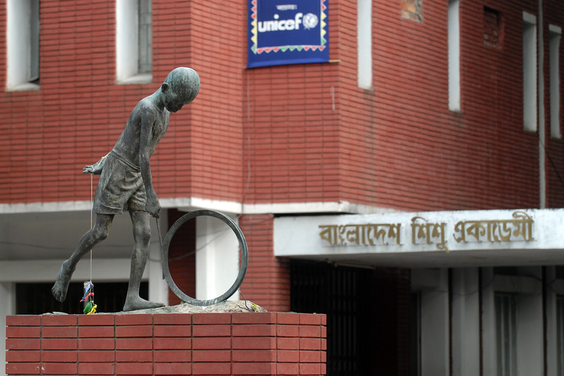 Bangladesh Shishu Academy (The Bangladesh Children's Academy) supported by UNICEF.<br /> Bangladesh Shishu Academy (The Bangladesh Children's Academy) established by Ziaur Rahman's government at dhaka in 1976 with the objective of the mental, cultural and physical development of children and of exploring their talents in innovation. The academy has branch offices in all 64 districts of the country and in six selected upazilas of six divisions. <br /> <br /> Dhaka (Bangla: ঢাকা, pronounced [ɖʱaka])— (Dacca) is the capital city of Bangladesh (Bengali: বাংলাদেশ [ˈbaŋlad̪eʃ] Bangladesh). Dhaka, located on the banks of the Buriganga River is a megacity with a population of over 12 million. Dhaka is known as the City of Mosques and renowned for producing the world's finest muslin. it is a center for culture, education and business.