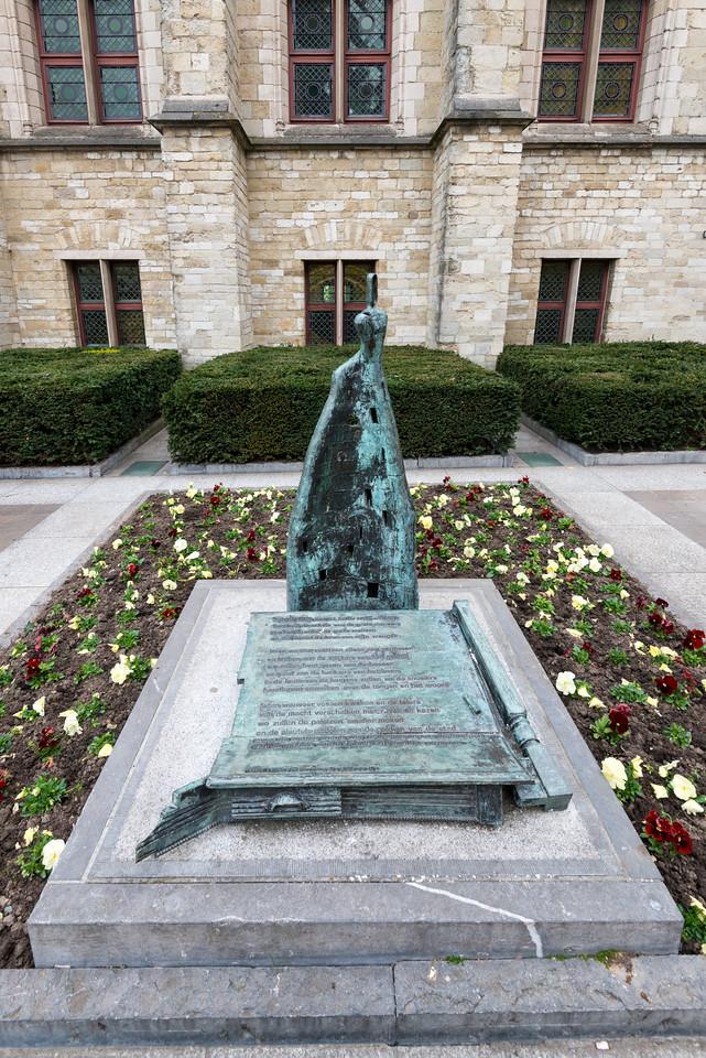 Statue in front of Het Belfort van Gent, Sint-Baafsplein, Ghent, Belgium.