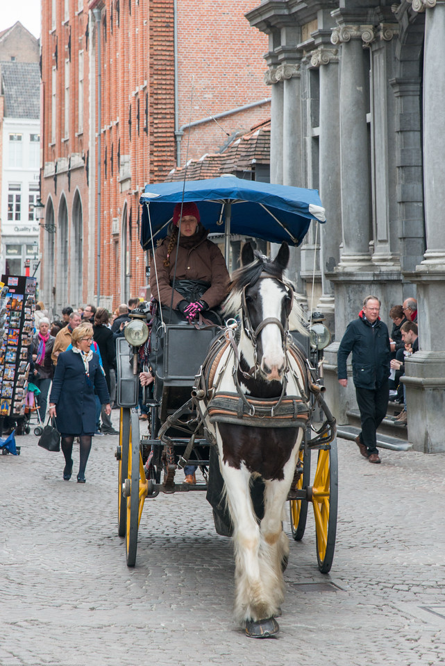 Horse carriage on the streets of  Breidelstraat, Bruges, Belgium. Horse-drawn Carriage is a good way to see the city. As you clip clop along the cobbled streets, you'll get the whole fairy-tale experience when you grab a horse-drawn carriage tour around the old town. Head along narrow streets and through majestic squares with your four-legged tour guide. You'll find the horses congregated around the Grote Markt.