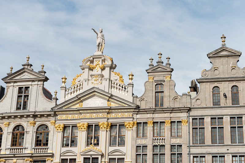 Guildhalls on the Grand Place, Brussels City Museum, Brussels, Belgium. De Gulden Boot - Grote Markt. Huge city square completely encircled by elegant historic buildings dating back to the 14th century.