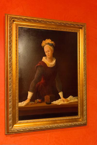 Beautiful paintings in Hotel Mozart, Brussels, Belgium, Europe.