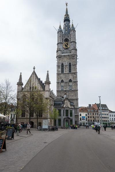 Het Belfort van Gent. Bell tower built between 1313 & 1380 with a number of later additions & key role in the city's past. Ghent, Belgium.