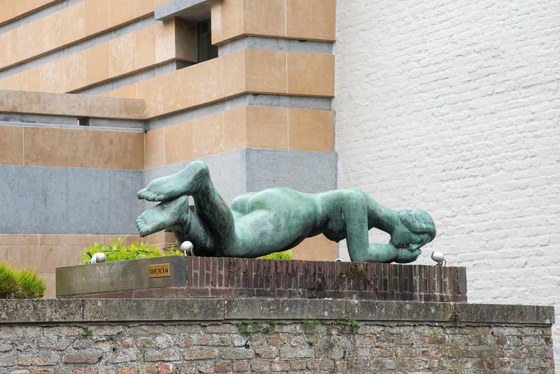 Street art installations close to Meestraat Bridge, Groenerei, Bruges, Belgium. Europe.