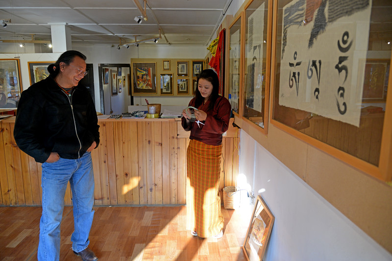 White Lotus Art Gallery in Paro, Bhutan is located on the main market street. Chhime Dorji and his brother are the primary artists.