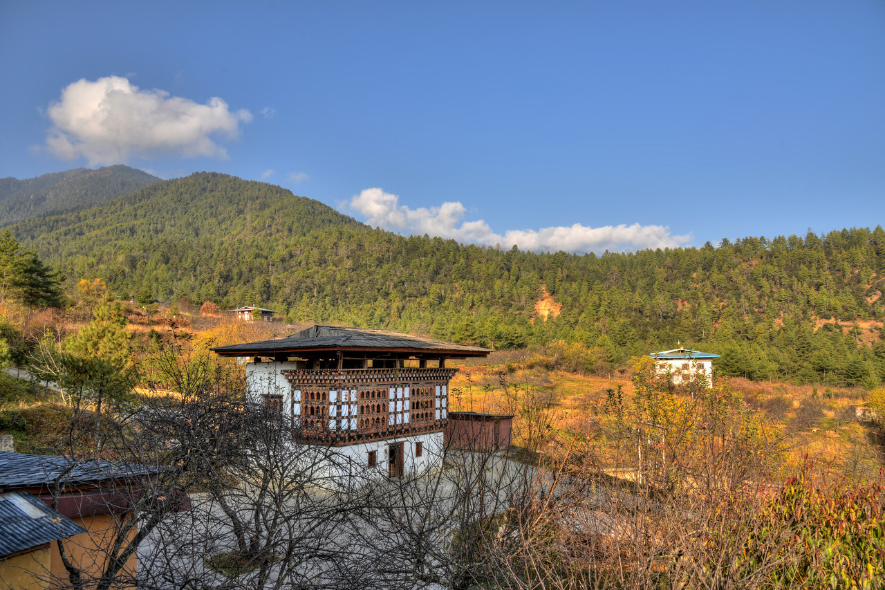 View from Naksel Boutique Hotel & Spa at Paro, Bhutan. <br /> <br /> Naksel is a blend between the heritage of traditional Bhutanese architecture and the comfort of modern amenities.