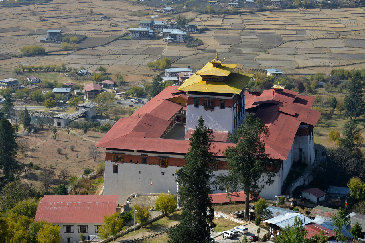 Rinpung Dzong seen from the National Museum of Bhutan - the cultural museum in the town of Paro in western Bhutan.