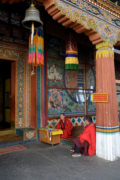 Monks offer prayers and blessings at the Paro Dzong. Rinpung Dzong is a large dzong - Buddhist monastery and fortress - of the Drukpa Lineage of the Kagyu school in Paro District in Bhutan. It houses the district Monastic Body and government administrative offices of Paro Dzongkhag