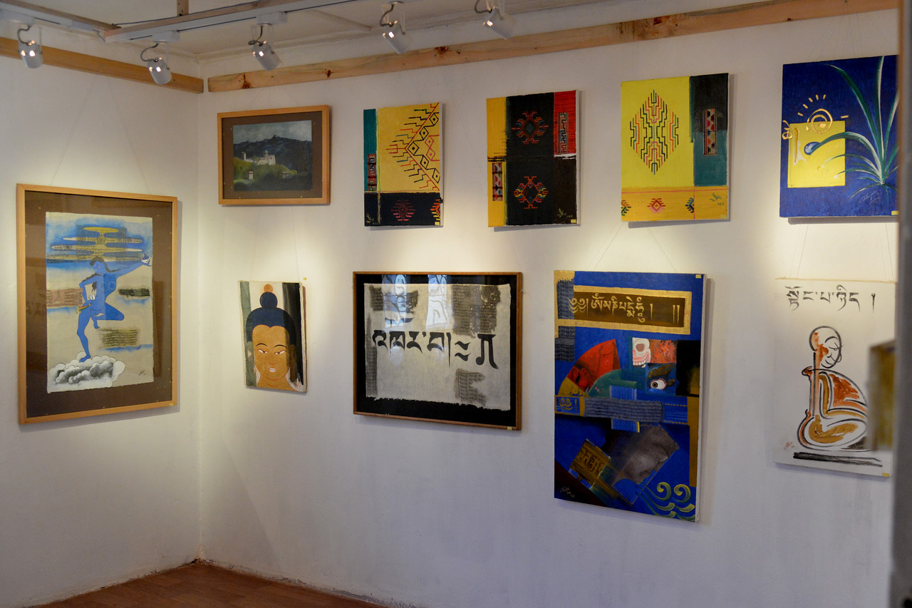 Art gallery - White Lotus Gallery in Paro, Bhutan which is located on the main market street exhibits many of Chhime Dorji's art works.