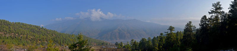 Panoramic view of Paro, Bhutan from Naksel Boutique Hotel & Spa. Blending the heritage of traditional Bhutanese architecture and the comfort of modern amenities. Main construction materials for Naksel are indigenous and locally purchased. Traditional windows, mud-bricks, framework and even furniture were locally crafted here in Ngoba Village, connecting Naksel to the surrounding forest.
