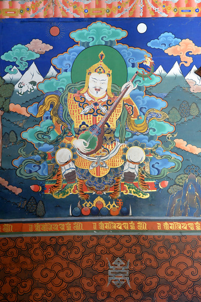 Buddhist wall paintings at Paro Rinpung Dzong. Rinpung Dzong is a large dzong - Buddhist monastery and fortress - of the Drukpa Lineage of the Kagyu school in Paro District in Bhutan. It houses the district Monastic Body and government administrative offices of Paro Dzongkhag