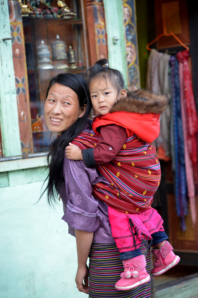 Mother and child on the streets of Paro, Bhutan.