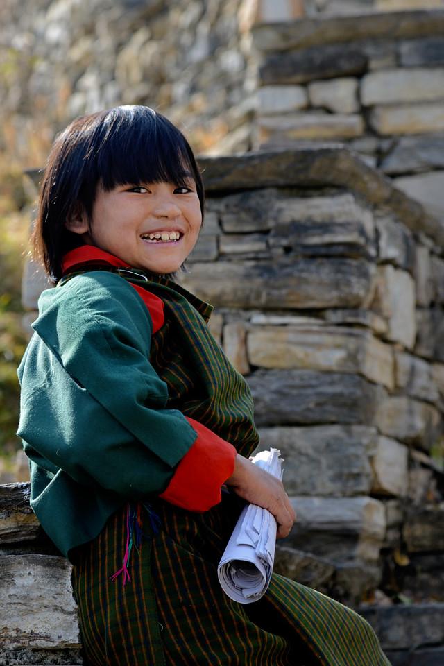 Children returning from school in Paro, Bhutan.