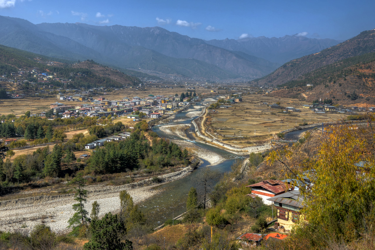 View from the National Museum of Bhutan - the cultural museum in the town of Paro in western Bhutan.