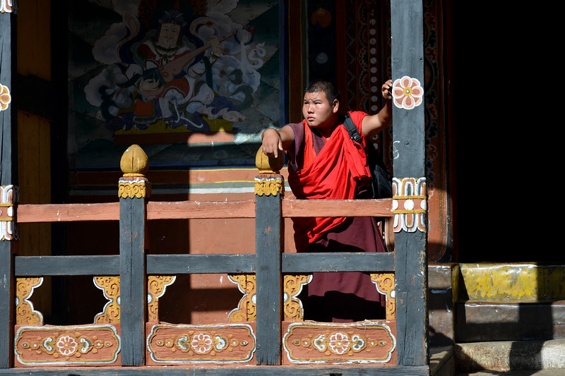 Buddhist monks inside Paro Rinpung Dzong. Rinpung Dzong is a large dzong - Buddhist monastery and fortress - of the Drukpa Lineage of the Kagyu school in Paro District in Bhutan. It houses the district Monastic Body and government administrative offices of Paro Dzongkhag