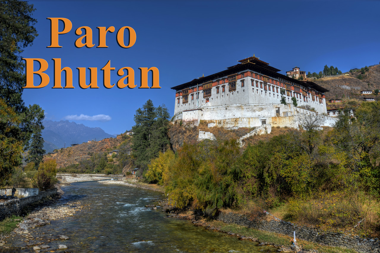 Paro, Bhutan.<br /> <br /> Paro city is the seat of Paro District in the Paro Valley of Bhutan which is the gateway to Bhutan as it is home to Paro Airport, Bhutan's only international airport. Paro is also famous for the Rinpung Dzong (Paro Dzong) a fortress-monastery overlooking the Paro valley which was first built on by Padma Sambhava at the beginning of the tenth century.<br /> <br /> Rinpung Dzong is a large dzong - Buddhist monastery and fortress - of the Drukpa Lineage of the Kagyu school in Paro District in Bhutan. It houses the district Monastic Body and government administrative offices of Paro Dzongkhag.