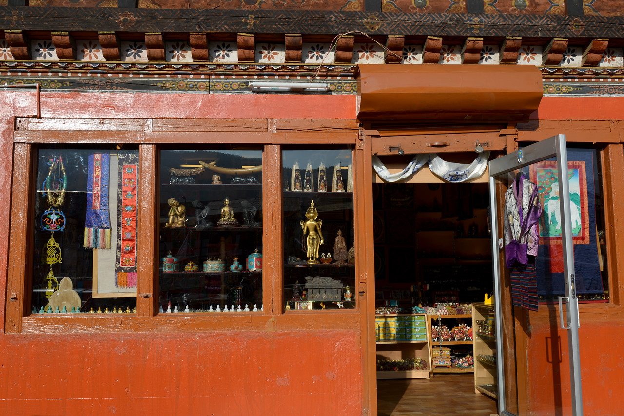 Street shopping in Paro, Bhutan.