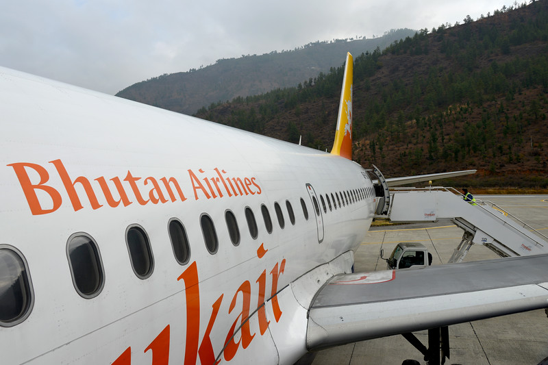 DrukAir planes at the Paro International Airport in Bhutan