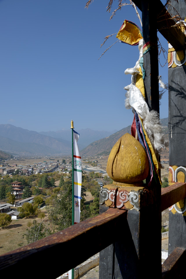 View from the Paro Dzong. Rinpung Dzong is a large dzong - Buddhist monastery and fortress - of the Drukpa Lineage of the Kagyu school in Paro District in Bhutan. It houses the district Monastic Body and government administrative offices of Paro Dzongkhag