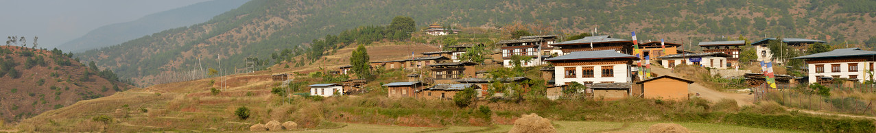 Panoramic view of at Punakha, Bhutan.
