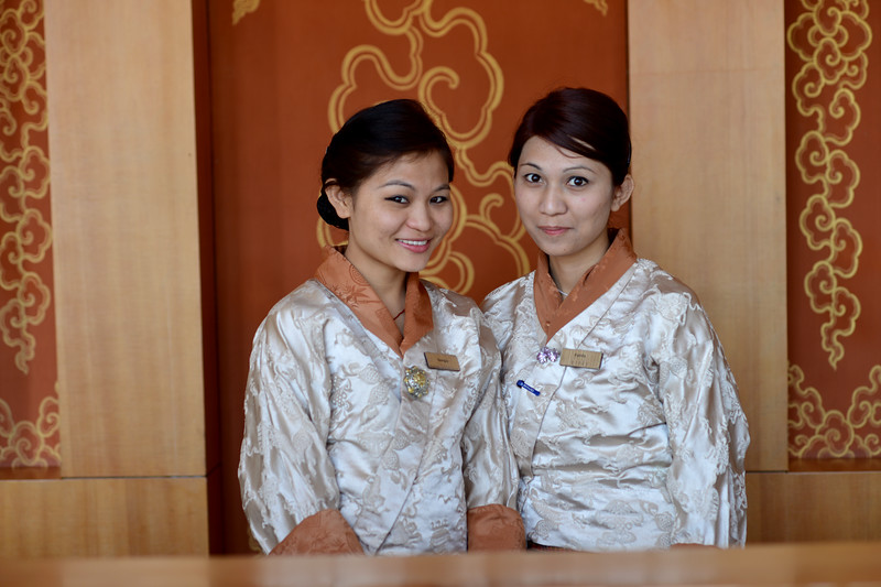Lovely staff at the Dhensa Boutique Resorts. <br /> Dhensa Boutique Resorts opened its first resort in Bhutan's Punakha Valley in March 2014. Dhensa Resort is a boutique property, located in the heart of Bhutan's verdant and lush Punakha Valley. Flanked by thick pine forests, it overlooks the Punakha River and is surrounded by several walking and trekking trails.