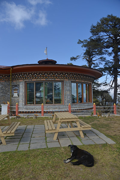Dochula Resort Restaurant at Dochu La pass. <br /> Dochu La pass with its fluttering prayer flags and views over the majestic Himalayas, takes your breath away on a clear day. The highly ornate Drukwangyal Lhakhang (temple) and the 108 chortens, was built by the Queen Mother Ashi Dorji Wangmo Wangchuck  to honour the Bhutanese soldiers who were killed when fighting Indian naxals/rebels in 2003.