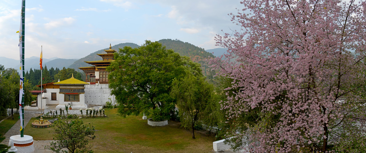 "Panoramic view of The Punakha Dzong, also known as Pungtang Dechen Photrang Dzong (which means ""the palace of great happiness or bliss""), is the administrative centre of Punakha District in Punakha, Bhutan. Punakha Dzong was the administrative centre and the seat of the Government of Bhutan until 1955, when the capital was moved to Thimphu."