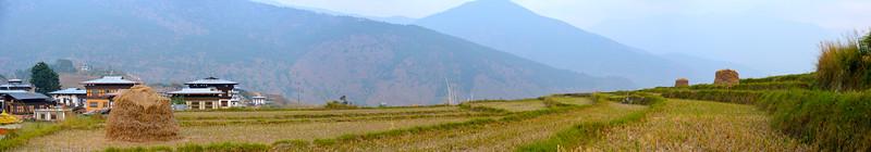Panoramic view of at Punakha, Bhutan.