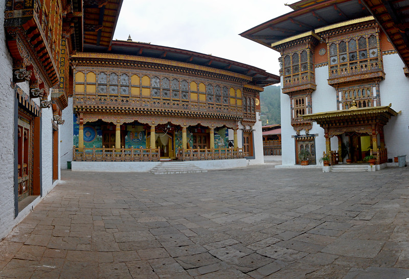 "Panoramic view of the couryards of The Punakha Dzong. The Punakha Dzong is also known as Pungtang Dechen Photrang Dzong (which means ""the palace of great happiness or bliss""), is the administrative centre of Punakha District in Punakha, Bhutan. Punakha Dzong was the administrative centre and the seat of the Government of Bhutan until 1955, when the capital was moved to Thimphu."