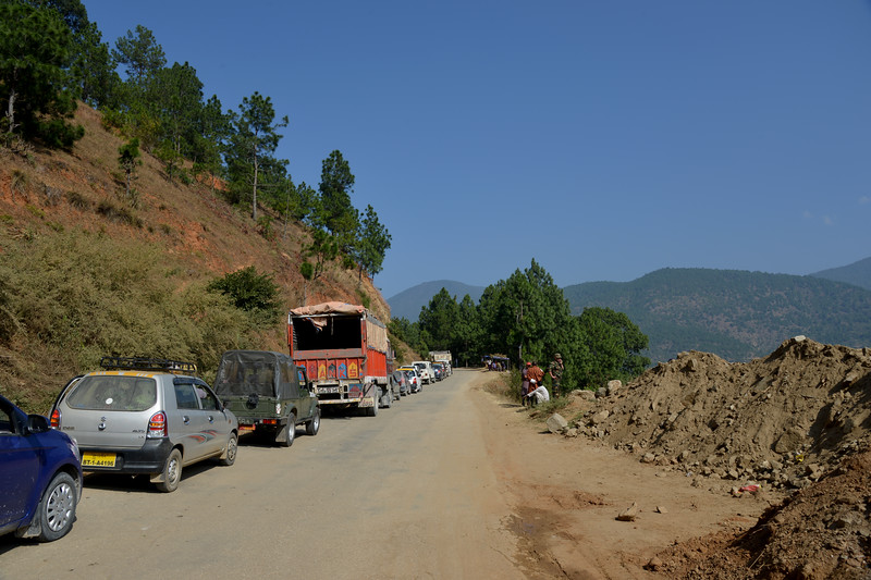 Traffic road blocks due to road construction enroute Punakha to Thimphu, Bhutan.
