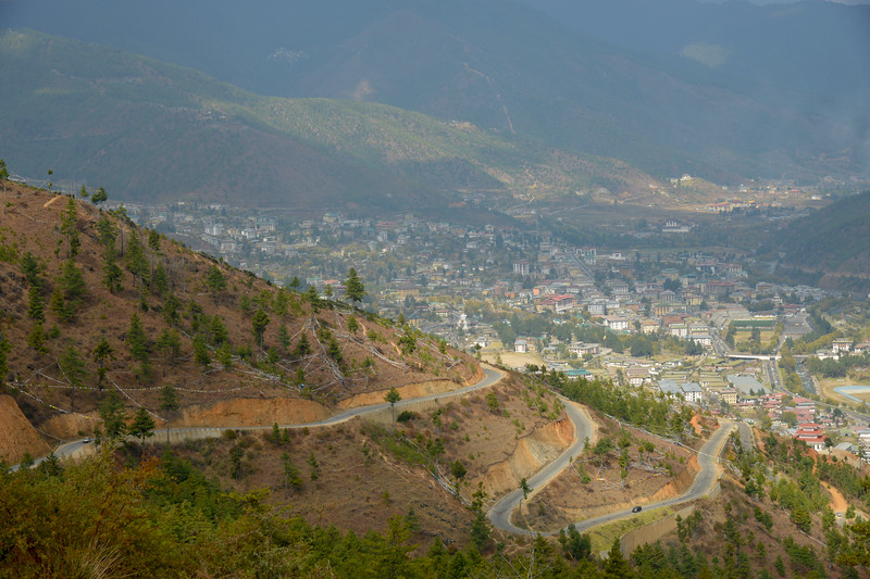 View of Thimphu city from Buddha Dordenma, Kuenselphodrang, Thimphu, Bhutan.