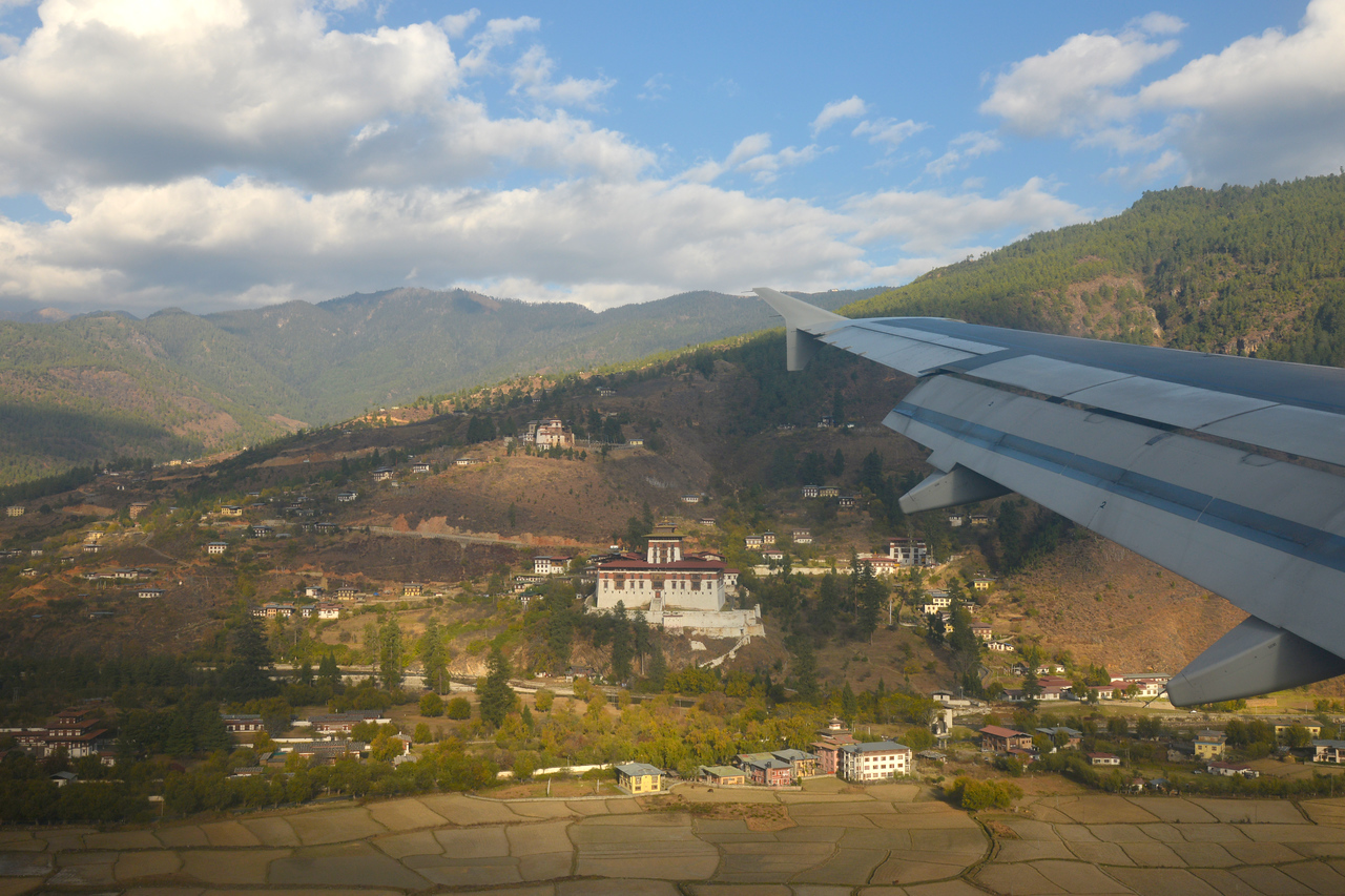 Paro International Airport seen from flight from Mumbai, India to Paro, Bhutan on Druk Air flight.