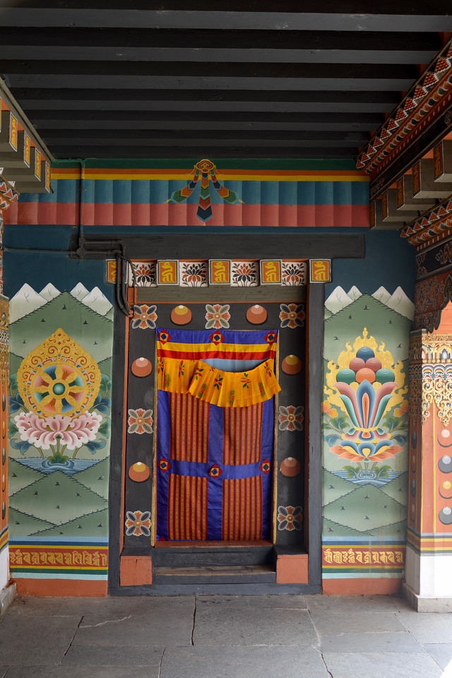 Traditional paintings inside Tashichhodzong, Chhagchhen Lam, Thimphu, Bhutan.