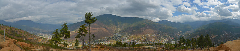 Panoramic view of Thimphu city, Bhutan.
