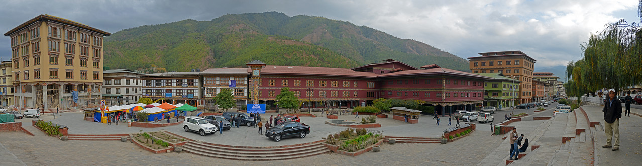 Panoramic image near clock tower at Thimphu market road.