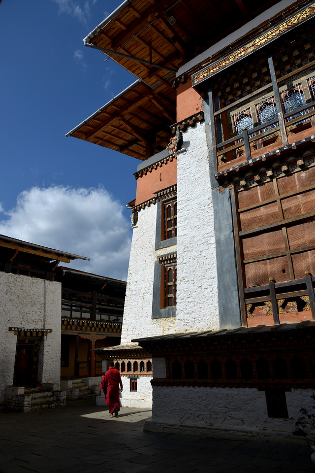 Semtokha Dzong, Semtokha, Thimphu, Bhutan.<br /> <br /> Simtokha Dzong is a small dzong located about 3 miles south of the Bhutanese capital of Thimphu. Built in 1629 by Ngawang Namgyal, who unified Bhutan, the dzong is the first of its kind built in Bhutan and was recently renovated. It used to house Dzongkha language learning institutes.