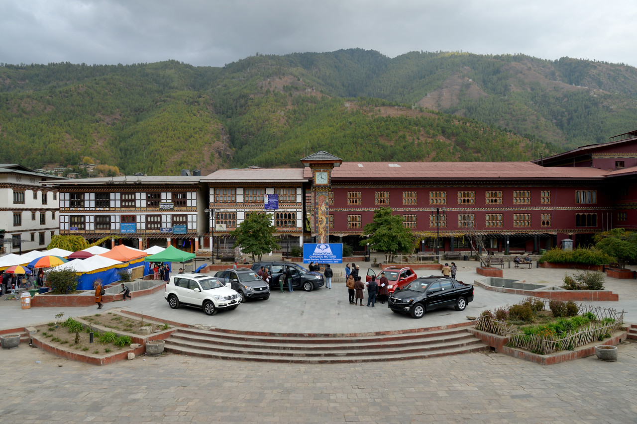 Clock Tower Square has a tower with four clock faces located in Thimphu, capital of Bhutan. It is a famously known landmark in Thimphu. There are many shops, hotels and restaurants surrounding the square. Thimphu, Bhutan.