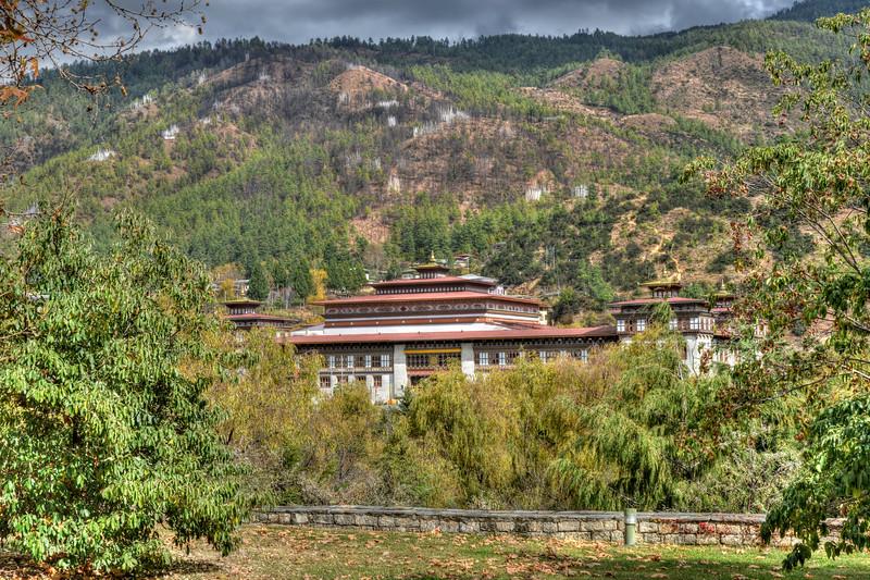 National Assembly of Bhutan, Gyelyong Tshokhang, Thimphu Bhutan seen from Tashichhodzong.