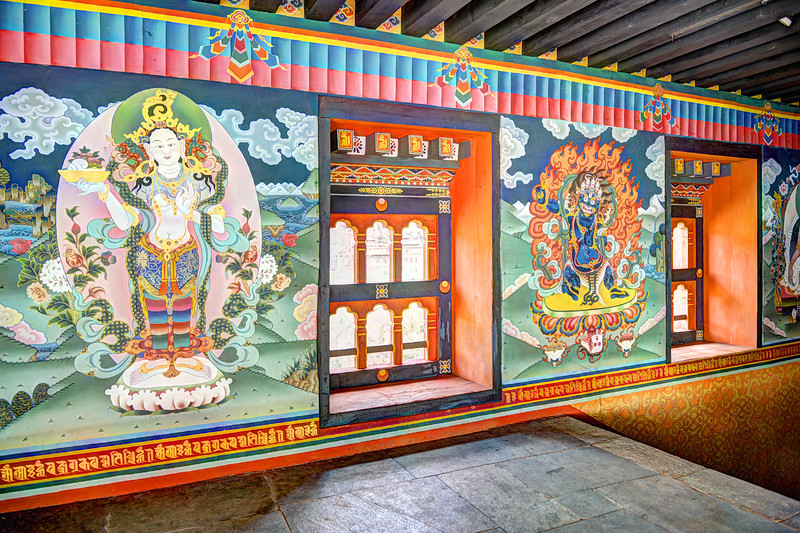 Tonemapped image of the traditional paintings on the walls of Tashichhodzong, Chhagchhen Lam, Thimphu, Bhutan.